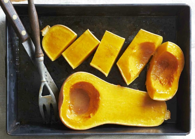 Unpeeled baked butternut squash