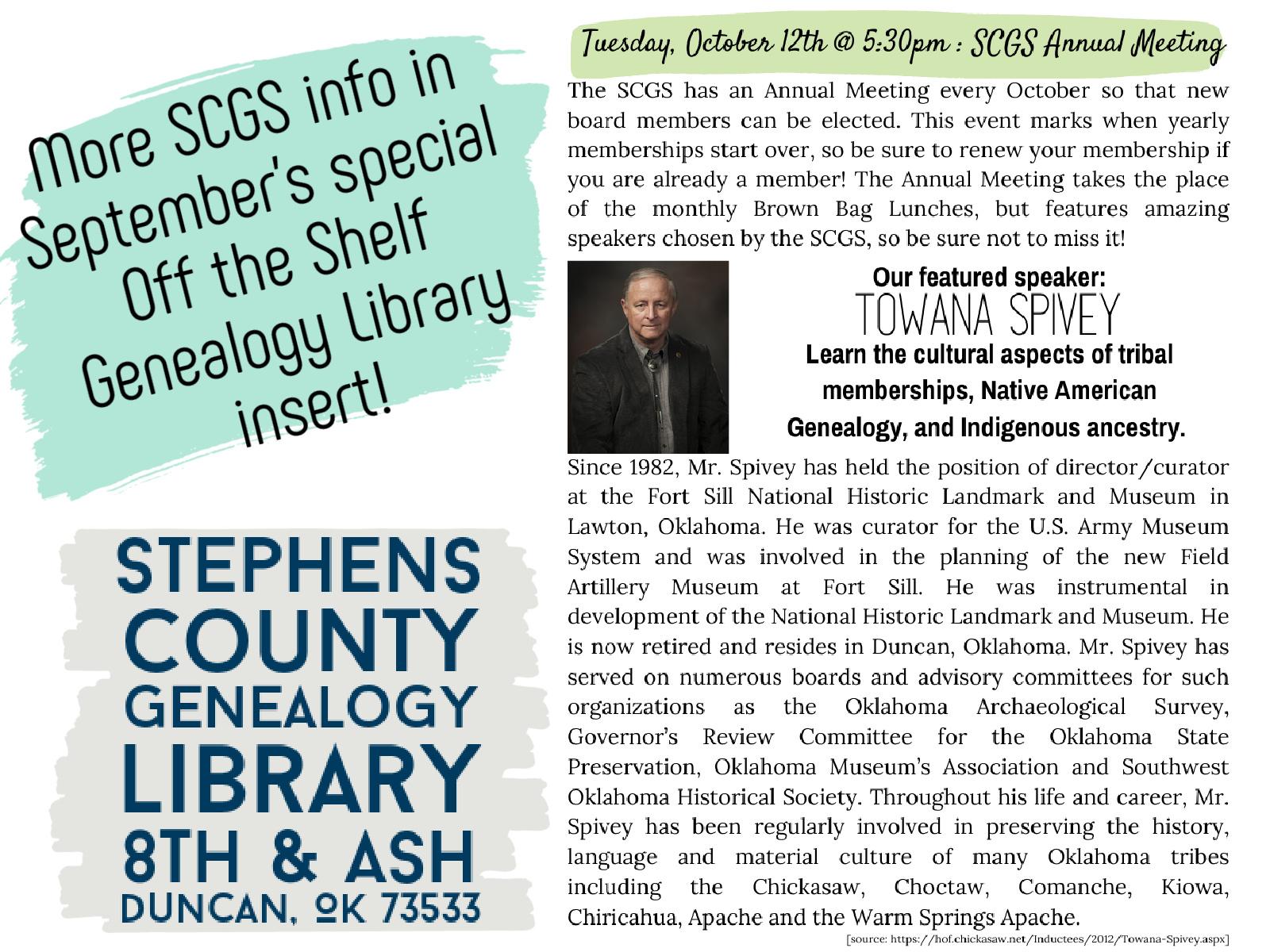 SCGS Annual Meeting: Towana Spivey @ Genealogy Library