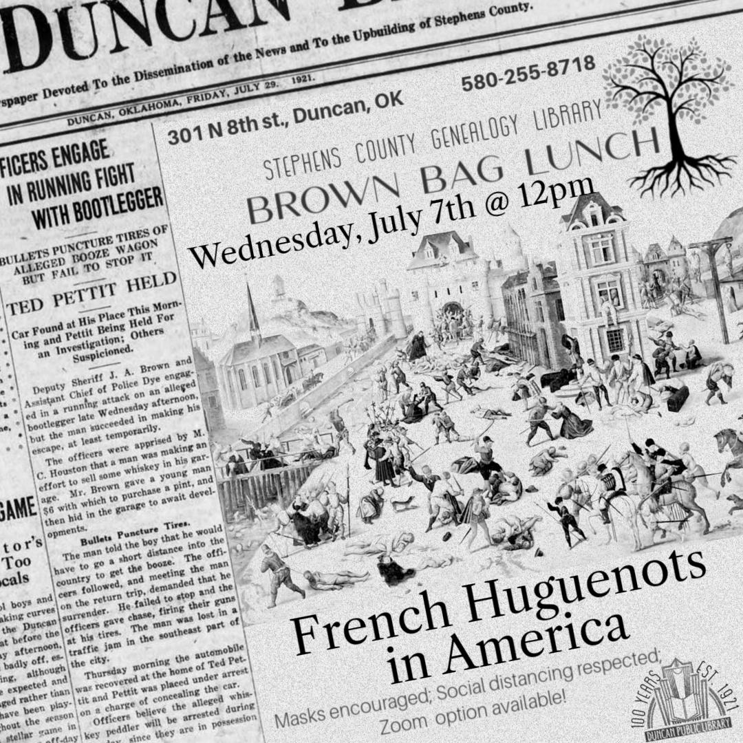July Brown Bag: French Huguenots @ Genealogy Library